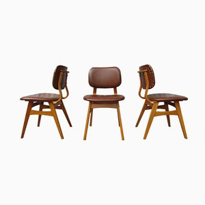 Dutch Mid-Century Vinyl Dining Chairs, Set of 3