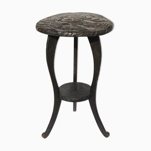 Japanese Hand Carved Floral Side Table or Plant Stand, 1905
