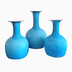 Opalblaue Carnaby Vasen aus Glas von Per Lütken für Holmegaard, Dänemark, 1960er, 3er Set