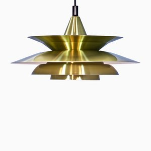Danish Hanging Lamp in Brass, 1970s
