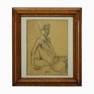 Portrait of a Young Man, 1969, Charcoal, Framed