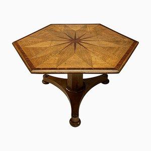 Antiker sechseckiger geometrischer William IV Beistelltisch aus blasser Eiche
