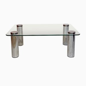 Italian Space Age Glass and Steel Tray Table, 1970s