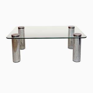 Italienischer Space Age Tabletttisch aus Glas & Stahl, 1970er