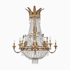 Italian Empire Golden Chandelier with Fine Crystals, 1700s