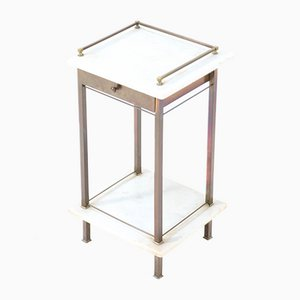 Brass Vienna Secession Nightstand or Bedside Table with Marble Top, Austria, 1900s