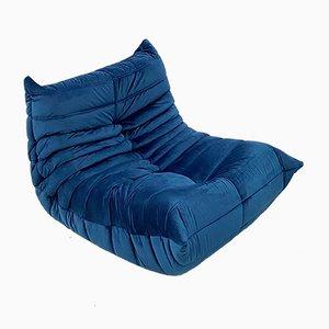 Französischer Vintage Togo Sessel in Blauem Samt von Michel Ducaroy für Ligne Roset