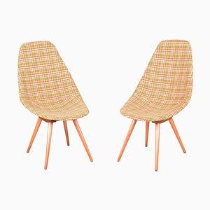 Mid-Century Beech & Fabric Armchairs, Czechia, Set of 2