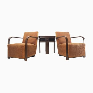 Art Deco Armchairs with Coffee Table, 1930s, Set of 3