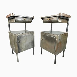 Vintage Industrial Brushed Steel Nightstands, 1920s, Set of 2