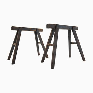Industrial Trestle Table Bases, Early 20th Century, Set of 2