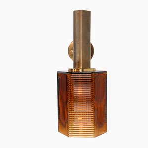 Brass Wall Lamp with Amber Ribbed Glass