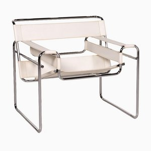 White Leather Wassily Armchair by Marcel Breuer for Knoll Inc. / Knoll International