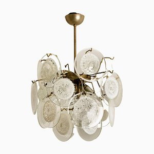 White Glass Disc Chandelier by Vistosi, Italy, 1970s