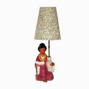 Lampada da tavolo viennese con statuina di donna cinese di Carli Bauer, anni '50