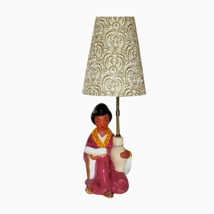 Viennese Table Lamp with a Chinese Woman from Carli Bauer, 1950s