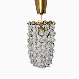 Lámpara de araña austriaca de cristal y latón de Bakalowits & Söhne, años 50