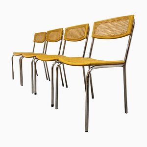 Italian Rattan and Chrome Dining Chairs, 1970s, Set of 4