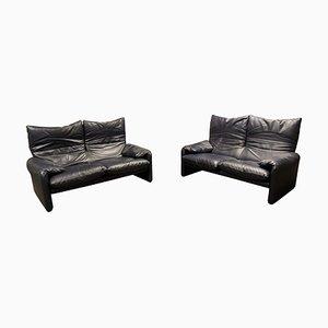 Leather Maralunga Sofa Set by Vico Magistretti for Cassina, 1990s, Set of 2