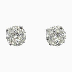 Modern 1,23 Carat Diamonds, 18 Karat White Gold Stud Earrings