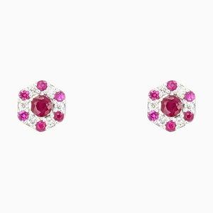 Moderne Rubin Diamanten, 18 Karat Weißgold Ohrstecker