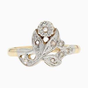 French Belle Epoque Rose-Cut Diamonds, 18 Karat Yellow White Gold Flower Ring