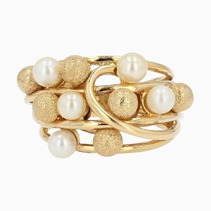French Modern Cultured Pearl, 18 Karat Amati, Yellow Gold Pearl Ring