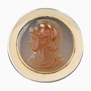 20th Century Agate Cameo, 18 Karat Rose Gold Antique Ring