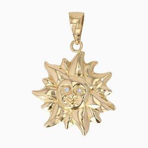 Modern Diamonds, 18 Karat Yellow Gold Sun Shaped Pendant