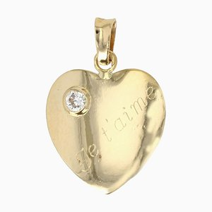Modern Diamond, 18 Karat Yellow Gold Heart Shaped Pendant