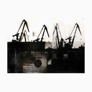 Lukasz Fruczek, Cranes IV, 2020, Acryl & Collage on Cardboard
