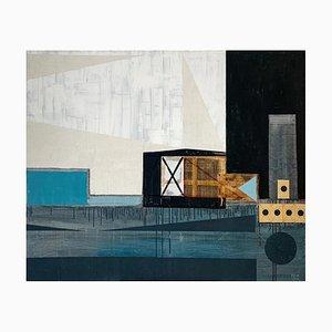 Lukasz Fruczek, Industrielandschaft mit Targets II, 2014, Acryl & Collage auf Leinwand
