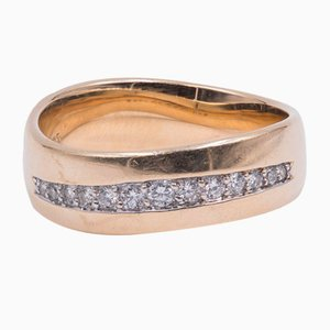 Vintage 14k Yellow Gold Ring with Brilliant Cut 0,28 Ct Diamonds, 70s