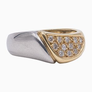 Vintage Two-Tone Ring in 18 Karat Gold and Platinum with 0,29 Ct Diamonds, 1980s