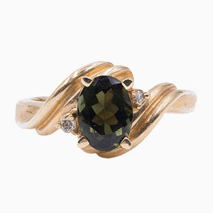 14k Gold Ring with Tourmaline and Diamonds, 1960s