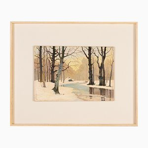 Winter Forest, Early 20th-Century, Oil on Plate, Framed