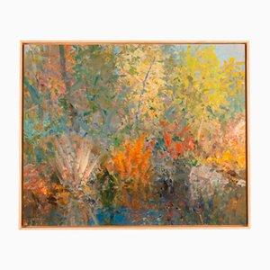 Flower Garden, Early 20th-Century, Oil on Plate, Framed