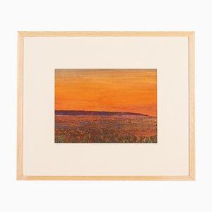 Desert, Gouache & Oil on Cardboard, Framed