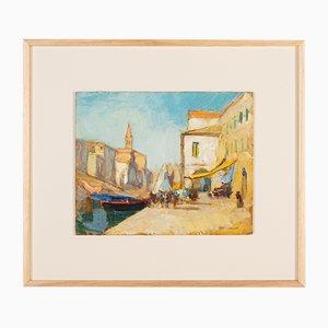 Venice, Oil on Plate, Framed