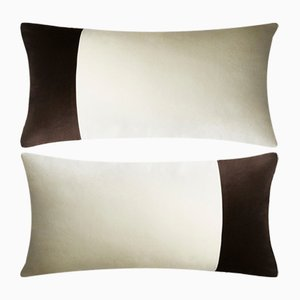 Double Rectangle White and Black Velvet Pillow from LO Decor