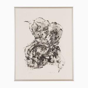 Detlef Hagenbäumer, Rose, Black & White Woodcut, Framed