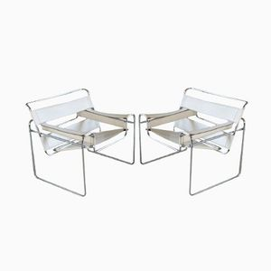 Italian White Leather and Chrome Wassily Chairs by Marcel Breuer, 1960s, Set of 2