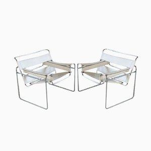Italienische Weiße Wassily Stühle aus Leder & Chrom von Marcel Breuer, 1960er, 2er Set
