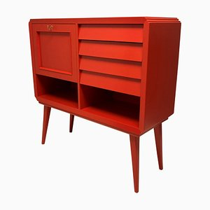 Mid-Century Italian Scarlet Bar Cabinet in Beech
