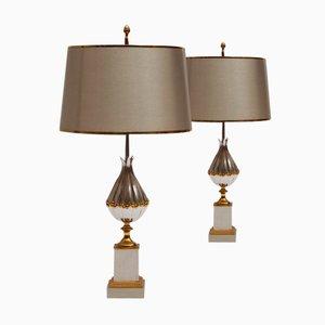Französische Lotus Tischlampen aus Vergoldeter Bronze von Maison Charles et Fils, 1950er, 2er Set
