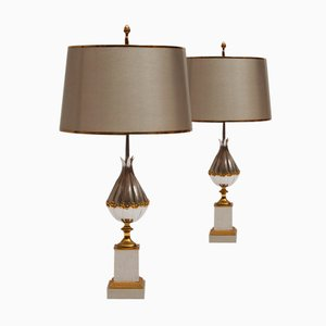 Lampes de Bureau Lotus Dorées en Bronze de Maison Charles et Fils, France, 1950s, Set de 2
