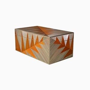 Caja de marquetería de paja de helecho dorado de Violeta Galan