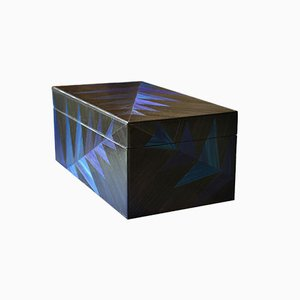 Black Fern Straw Marquetry Box by Violeta Galan