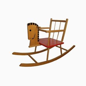 Vintage Schaukelpferd aus Holz für Kinder