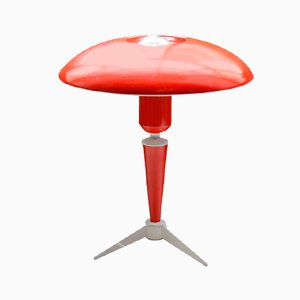 Dutch Red Tripod Table Lamp by Louis Kalff for Philips, 1950s
